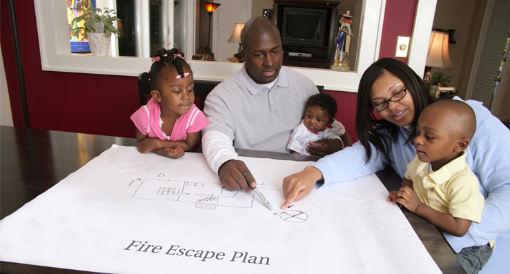 Fire escape plan for home in Houston TX