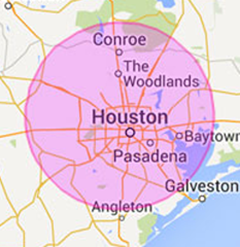 a map of Houston with our location designated by a red pin